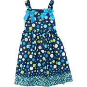 Plus Size Girls Dresses by Bonnie Jean - Vibrant Dress with Aqua, Turquoise, White and Lime Dots on Navy Background. Has  Wide Straps, Bow Accents, Zip and Tie at Back. Bodice is Lined. Really Cute!  Available in Sizes 18 1/2 and 20 1/2.