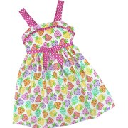Toddler Girl Summer Dresses by Bonnie Jean - Summer Dress with All-over Print of Colorful  Bouquets and Hot Pink Polka Dot Straps, Trim and Bow Accent. Buttons and Ties at Back.  Bodice is Lined. Darling!  See sister dress in sizes 4-6X