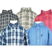 Boys Flannel Shirt by Gioberti with Button Down Collar and cuffs.  Pocket with Logo Tag.  Extra Buttons.  Available in Sizes 5, 6, and 7 in Black,  Tan, Red, Navy and Lt. Blue Plaid.  Great for dressing up!