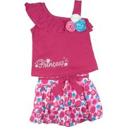 Sweet Infant Girl 3 Piece Skirt Set with One Shoulder Top with Ruffle and Rosettes Decorating the Neckline and Princess Screen Print, an Adorable Bubble Skirt (Lined) with Half Elastic Back and Bow on Front Together with a White Diaper Cover.  Very Cute!
