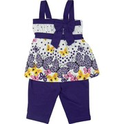 Adorable Infant Girl Short Set with Top in Colorful Butterfly Print with Coordinating Straps and Bow and Pull-on Long Shorts.  So Cute!  Available in Sizes 12, 18 and 24 Months