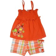Cute Infant Girl Short Set with Stretchy Sun Top with Colorful Ladybug Screen Print and Plaid Pull-On Shorts with one Cargo Pocket.  Adorable!  Available in Sizes 12, 18 and 24 Months.