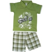 Toddler Boy Short Set featuring a Collared Polo Shirt with Motorcycle Screen Print and Pull-on Cotton Tweed Shorts with Side Pockets and Elastic Waist.  Available in Sizes 2T, 3T and 4T (Larger sizes in Young Boy)