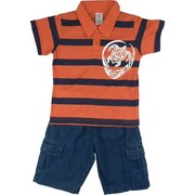 Toddler Boy Short Set featuring a Striped Polo Shirt with a Sea Turtle Screen and Denim Shorts with , 2 Side Pockets and 2 Cargo Pockets.  Cool and Fun!  Available in Sizes 2T, 3T and 4T (Larger sizes in Young Boy