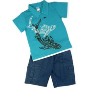 Toddler Boy Short Set featuring a Collared Polo Shirt with Shark Screen Print and Pull-on Denim Shorts with 2 Side Pockets and 2 Cargo Pockets .  Available in Sizes 2T, 3T and 4T (Larger sizes in Young Boy)
