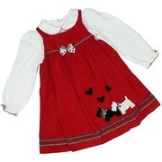 Girls Dress Set by Good Lad with Red Corduroy Jumper with Scottie Dogs & Hearts Appliques, Back Buttons, Black and White Check and Polka Dot Ribbon Trim  and White Shirt with Shirred Sleeves, Peter Pan Collar,  Red Trim and Back Buttons.  Very Cute!  Available in Sizes 4, 5, 6 and 6X
