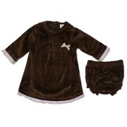 Baby Girl Clothes - Soft Velour Dress Set in Brown with Pink Ruffle Trim and Brown and Beige Bow. Matching Brown Panty. Super Soft!  Available in Sizes 3, 6, and 9 months. by Icky Baby
