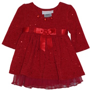 Adorable long sleeved fuzzy knit dress with spangle dots, empire waist with red ribbon sash in front, ties at back. Lined with mesh hem, rhinestones at neckline and red panty.  Available in sizes 0/3, 3/6 and 6/9 months. by Bonnie Jean