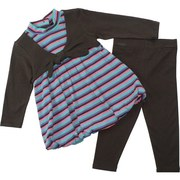 Adorable Infant Girl Legging Set with Striped Bubble Top with Mock Long Sleeved Shrug and Matching Brown Leggings.  So Cute!  Available in Sizes 12, 18 and 24 months.  by Bonnie Baby