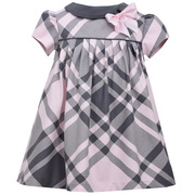 Short sleeve big yarn dye grey and pink plaid float with solid side collar and bow, lined and solid grey panty. Available in sizes 4-6X.  See also in Infant and Toddler  by Bonnie Jean