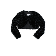Cute black faux fur long sleeved bolero jacket/shrug with lining, so  soft and fluffy!  Will look adorable over her holiday dresses. Available in sizes 12, 18 and 24 mos.  See also in Toddler, 4-6X and 8-14 by Bonnie Jean