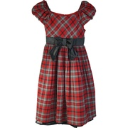 Tween Girl Plaid Dress, Great Fan Pleated Plaid Dress with Puffed Elastic Shoulders, Black Bow that Ties in Back, Zip Closure, Fully Lined and Crinoline Hem.  Very Cute by Bonnie Jean.  Great for all Holiday Occasions! Available in Sizes 7, 8, 10, 12, 14 and 16