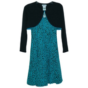 This cute fit and flare jacquard dress is in a turquoise print on a black background with seams that give it a flowing effect.  It pulls over the head and ties at the back.  The cute black shrug with turquoise trim add that special touch.  A great go-to dress! Available in sizes 12 1/2, 14 1/2, 16 1/2, 18 1/2 and 20 1/2. by Bonnie Jean