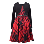 Oversized red and black plaid sleeveless, belted dress with long sleeved black bolero cardigan in sizes 7, 8, 10, 12, 14 and 16.  Great for recitals and the holidays!  by Bonnie Jean