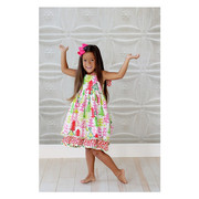 This Jelly the Pug Tree Dress in Pink, Red and Green is a Cute 100% Cotton Dress in the Sassy Style with All-Over Colorful Tree Print with two Layers of Material and Candy Patterned Straps that Tie at Back. Sweet!  Wear in Summer or Winter with a Top.  Available in Sizes 4, 5, 6 (Sister Dress in 2T, 3T, 4T Toddler Girl)