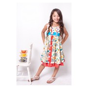 This adorable Jelly the Pug Katy Dress in Ellie pattern can be worn in all seasons when paired with a top and tights. The patterns of paisley, florals and elephants are in colors of pink, hot pink, turquoise, orange and light brown. So cute!  Available in sizes 4, 5 and 6X (See also sizes 7 and 8 in Girls)