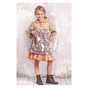 This cute layered Jamie dress by Jelly the Pug is in the Indian Summer print with a grey background on the top layer, sleeves and collar and mustard yellow, red, white and pink designs throughout. Great school dress for the Fall/Winter!  Available in sizes 4, 5, 6 and 6X