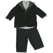 Fabulous Infant Boy 3 Piece Sport Coat Set with Black Corduroy Sports Coat with 2 Button Front, Lined, Back Vents, Two Front Pockets and Zip-Out Hoodie.  Includes White Collared Shirt and Black Jeans with 4 Pockets and Elastic Back.  Trendy!  Available in Sizes 12, 18 and 24 Months by Kenneth Cole Reaction