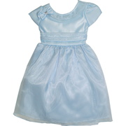 Sweet toddler girl Easter dress with bling on neckline and waistband, and bow accent. Zips and ties in back.  Available in Blue and Baby Pink in sizes 2 and 4.  Great for weddings too!  Made in the USA by Kid Collection