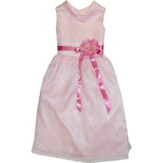 Darling First Communion dress with a rolled collar, flower (removable) and ribbon sash with zip and ties at back.  Below the knee length.  Very Sweet!  Available in White and Pink in sizes 6, 8, and 10