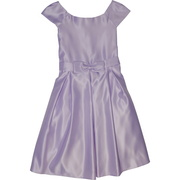 Pretty tween girl dress that is great as a flower girl dress or other special occasion with a cap sleeve, bow at waist and pleated front.  Zips and ties at back.  Available in Lilac and White (great for First Communion) in sizes 10 and 12.  *Made in the USA by Kid Collection