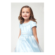 Sweet toddler girl dress with bling on neckline and waistband, and bow accent. Zips and ties in back.  Available in Blue and Baby Pink in sizes 2 and 4.  Great for holidays, weddings!  Made in the USA by Kid Collection
