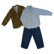 Great Toddler Boy 3 Piece Sports Jacket Set with Brown Cord Sport Coat with Hunting Dog Embroidery, Two Flap Pockets, Two Button Closure and Back Vent.  Blue Striped Collared Shirt with Round Tail and Four Pocket Jeans with Zip and Snap Front and Elastic Back.  Sporty!  Available in Sizes 2T, 3T and 4T by Kids Headquarters