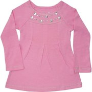 Girls Clothing 4-6X - Adorable Girls Top with Silver Studding Around Neckline,Feminine Pleating in Front and Silver Threaded Trim on Neckline, Cuffs and Hem.  Too Cute!  Available in Sachet Pink and Cream (Winter White) in Sizes 4, 5, 6 and 6X (NOTE:  Dream Star Tops Tend to Run Small)