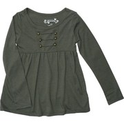 Girls Tops 4-6X - Funky Girls Tops with Military Style Buttons, Cut Openings and Flowing Bodice.  Funky yet Feminine and Oh So Soft!  Available in Fuchsia, Grey and Olive in Sizes 4, 5, 6 and 6X (NOTE:  Dream Star Tops Tend to Run Small)
