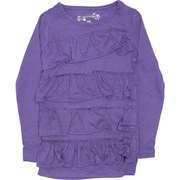 Girls Clothing - Cute Girls Tops  with Ruffled Styling in Super Soft Poly/Rayon.  Available in Purple, Grey, Rose and Cream (Winter White) in Sizes 4, 5, 6 and 6X  (NOTE: Dream Star Tops Tend to Run Small)