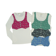 Girls Tops Sizes 7-16 - Girls Long Sleeve Top with Mock Vest that Ties in Back and has Rhinestone Buttons.  Available in Cream/Fuchsia, Cream/Green, Cream/Black and Cream/Blue in Sizes 7/8, 10/12, 14 and 16. NOTE: Dream Star Tops Tend to Run Small