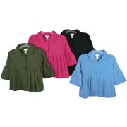 Girl Tops Sizes 7-16 - Stylish Short Jacket with Bell Sleeves, Round Collar and Front Pleats.  Available in Olive, Fuchsia, Black and Light Blue in Sizes 7/8, 10/12, 14 and 16 NOTE: Dream Star Tops Tend to Run Small