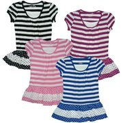 Tween Girl Tops Sizes 7-16 - Cute Girls Top in Stripes and Polka Dots Gathered at Neck with Insert.  Looks Great with Leggings!  Available in Black, Royal Blue, Fuchsia and Pink in Sizes 7/8, 10/12, 14 and 16.  NOTE: Dream Star Tops Tend to Run Small - May Wish to Order Next Size Up.