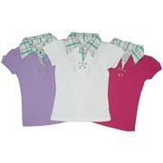 Girls Clothes Sizes 7-16 Featuring 2Fer Polo with Plaid Mock Collar, Metal Embellishments, Tab and Button Short Sleeves, Vent Sides.  Available in Sizes 7/8, 10/12, 14 and 16 in Fuchsia, Lilac and White.   Goes Great with Jeans or Shorts!  NOTE: Dream Star Tops Tend to Run Small, May Wish to Order Next Size Up