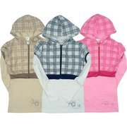 Girls Tops - Cute Hoodie Top for Girls Size 7-16 with Long Sleeved Tunic with Separate Short Hoodie Jacket in Plaid over Solid Colors.  Available in Tan/Brown, Navy/White and Pink/Fuchsia in Sizes 7/8, 10/12, 14 and 16.  (Note: Dream Star Tops Tend to Run Small - Order Next Size Up)  MSRP $29.99