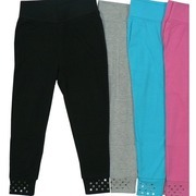 Girls Leggings - Cute Girls Leggings with Wide Waistband and Sequins on Cuffs.  Available in Black, Grey, Blue and Rose in Sizes 4, 5/6, 6X.  NOTE:  Dream Star Items Tend to Run Small - May Wish to Order Next Size Up