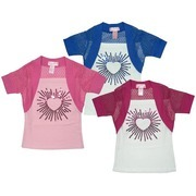 Girls Tops by Dream Star - Sparkly Girls Summer Top with Solid White Body with Attached Colored Shrug.  Heart Sequin Embellishment.  Available in Sizes 4, 5, 6 and 6X  in Blue, Fuchsia and Rose