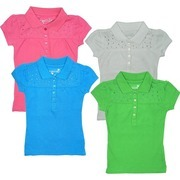Girls Tops by Dream Star -  Cute Girls Polo Shirt with Stud Embellishment in Great Colors!  Available in Hot Pink,  Blue Jewel, Green Apple and White.  Very Girly!  In Sizes 4, 5, 6 and 6X (Dream Star Items Tend to Run Small)  Available in Larger Sizes (7+)