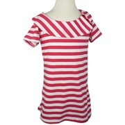 Tween Girl Clothes, Adorable Tween Girl Yarn-dyed Striped Top with Large Collar and Decorative Buttons at Side.  Available in Hot Pink, Royal Blue and Strawberry in Sizes 7/8, 10/12, 14 and 16. NOTE: Dream Star Tops Tend to Run Small, You May Want to Order Next Size Up.