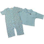 Adorable Baby Boy Two-Piece Coverall Outfit in Soft Pointelle Cotton with Short Sleeved Coverall in Toy Box Toys Pattern (Rocking Horse, Train, Car, etc.) and Blue Jacket with Rocking Horse Applique and Covered Snaps.  Soft and Cozy! by Baby Azure. Available in Sizes 3/6 and 6/9 Months