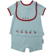 Adorable Baby Romper with Powder Blue Fooler Romper that Looks Like Two Pieces but is One! Snaps at Back and Legs.  Sailboat Embroidery and Red Trim on Romper and Bib. Very Cute!  Available in 0/3, 3/6 and 6/9 Months by Baby Azure