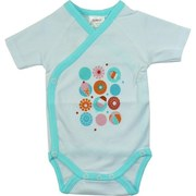 Newborn Girl Clothing by Zutano - Adorable Newborn Girl Onesie Body Wrap with Short Sleeves in 100% Cotton with Popsicle Screen Print, Inside and Outside Snaps, Trimmed in Teal.  So Soft to the Skin! Available in Size Newborn
