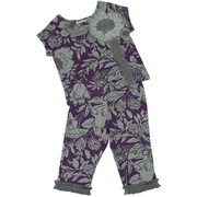 Newborn Gril Two Piece Floral Pant Set by Tralala with Cute Top with Stylized Fabric Flower on Floral Background.  Pull-on Pants with Ribbon Hem. Super Soft Cotton.  Available in Berry and Grey in Sizes 3, 6 and 9 months.
