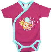 Newborn Girl Clothing by Zutano - Adorable Newborn Girl Onesie Body Wrap with Short Sleeves in 100% Cotton with Floral Screen Print, Inside and Outside Snaps and Trimmed in Teal.  Available in Size Newborn