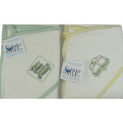 Baby Blankets in 100% Organically Grown Cotton, Great Hooded Blanket in Sage Green Trim with Itsy Bitsy Teeny Greeny or  Yellow Trim with Born Organic sayings.  by Under the Nile. Generous 31 x 31 Size.