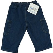 Infant Jeans - Adorable Baby Denim Jeans with Elastic Waist, Two Side Pockets and Sherpa Lined. (Not Thick, Looks Like Flannel) Wear Them Rolled Up to Show Lining or Rolled Down. 100% Organically Grown Cotton. Toasty Warm by Under the Nile.  Available in Sizes 3 and 6 Months.