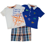 Cute infant boy short set with collared shirt with appliques, screens and embroidery, t-shirt with rowing screen print and plaid shorts with half-elastic back by Rugged Bear