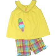 Infant Girl Short Sets - Adorable Infant Girl Capri Set with Lined Yellow Cotton Dot Top with Extensive Ice Cream Applique, Button Decorations, Lace Trim Around Neckline and Four Buttons at Back.  Cute Madras Capri Shorts Matches Cone.  Colorful!  Available in Sizes 12, 18 and 24 Months. Matching outfit in Toddler Girl. by Austin & Ashley