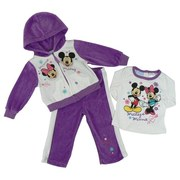 She will Look Adorable in this Infant Girl Disney 3 Piece Velour Track Suit with Minnie and Mickey Screen Printed Hoodie with Zip Front and Two Pockets, Long Sleeved Tee with Puffy Painted Flowers and Stars Along with Pull-on Pants with White Stripes Down the Sides.  Too Cute!  Available in Sizes 12, 18 and 24 Months.