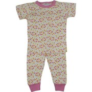 "Infant Girl Pajamas - Cute Infant Girl Pink Polka-Dot Pajamas with Short Sleeved Top and Pull-on Long Bottoms.  Ribbed Neck and Cuffs.  Available in Sizes 12, 18 and 24 Months.  NOTE: has size, care and ""not flame resistant"" label but no brand label."